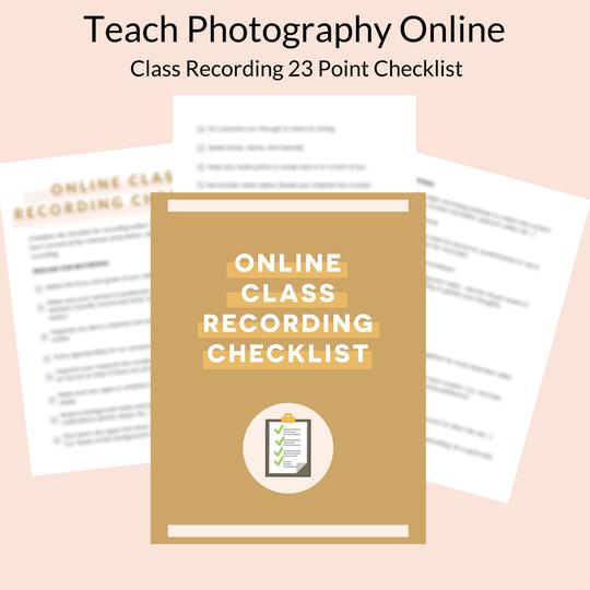 teach photography online checklist