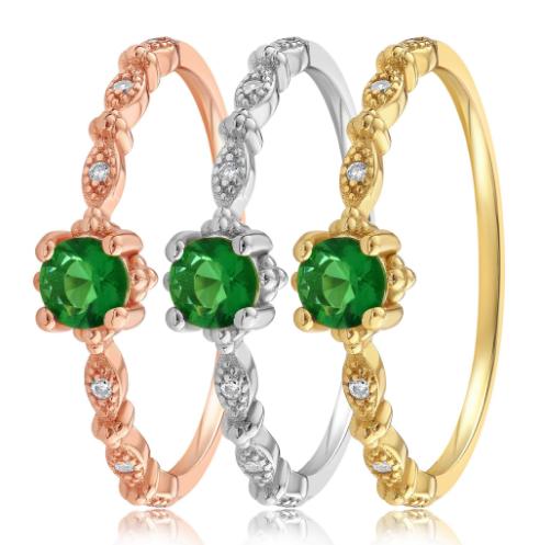 Three Blush and Bar Green Garen rings