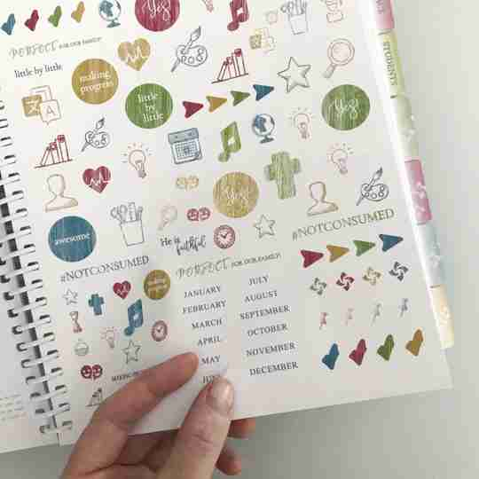 Organized Homeschool Planner sticker sheet