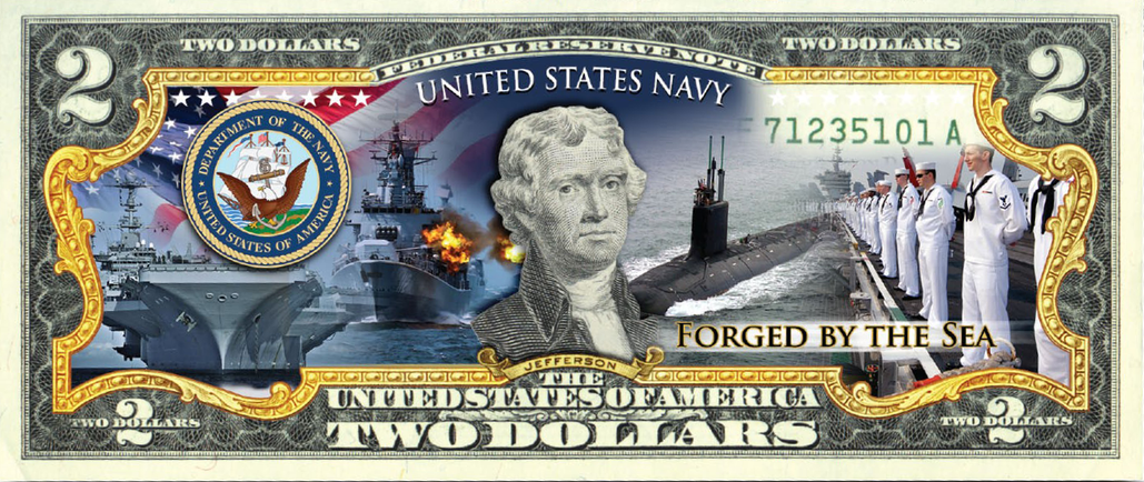 'U.S Navy' - Genuine Legal Tender U.S. $2 Bill