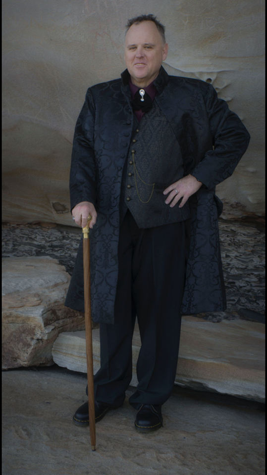 David, mature model for gothic victorian and steampunk shoots with Nicole Kirkwood events wearing Gallery Serpentine