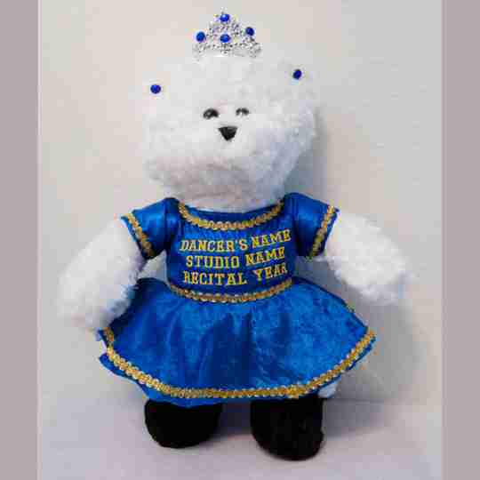 White bear with a blue dress.
