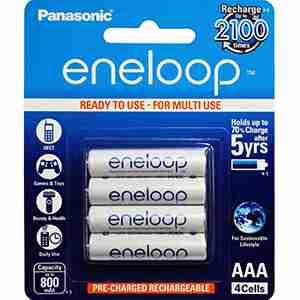 Eneloop AAA 'Ready to use' LSD NiMH White batteries 4packs