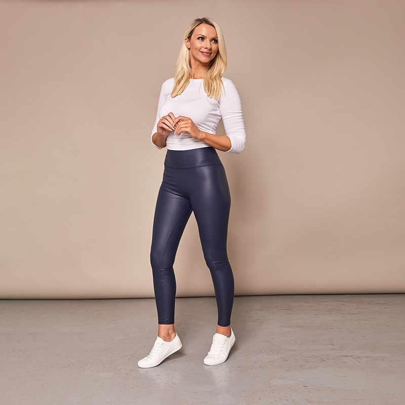 Wet Look Leggings Navy