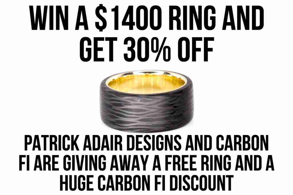 Win a Top Cut Carbon Fiber Ring with Gold Liner