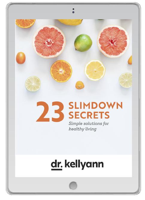 iPad with Dr. Kellyann's 23 Slimdown Secrets