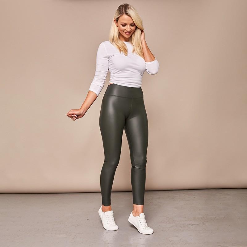 Wet Look PU Leggings (Khaki)