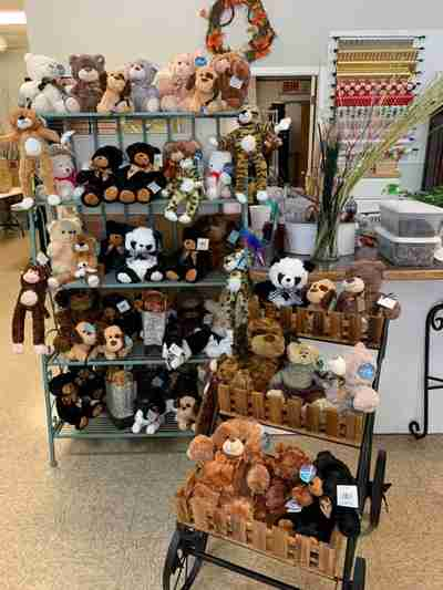 Shelves filled with plush animals