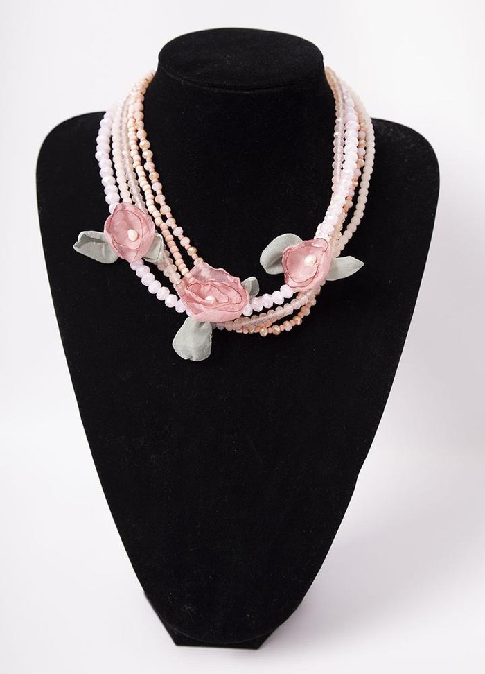 Pink Stone Flower Necklace