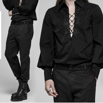 jewelled duke trousers worn on a male model with a pirate shirt