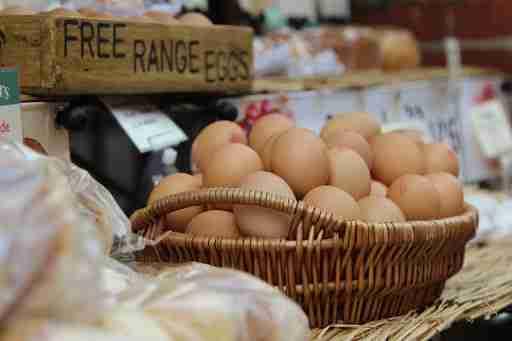 free range eggs in a basket