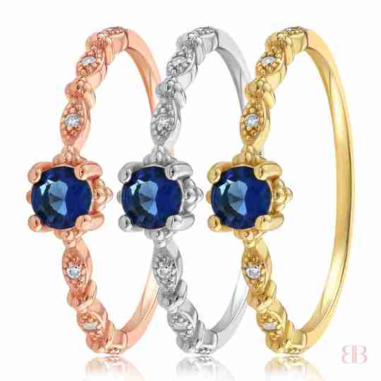 Garen Blue Stone Ring in Rose Gold, Sterling Silver and Yellow Gold