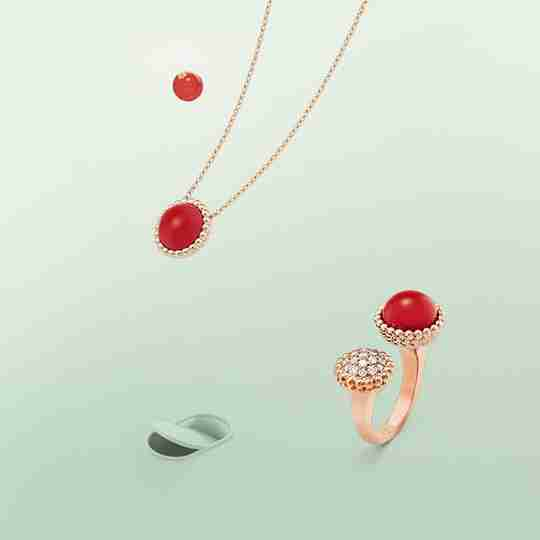 Van Cleef and Arpels ring and necklace with red gemstones