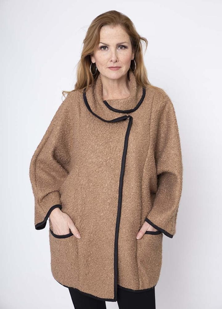 Black Trim Poodle Cardi in Camel