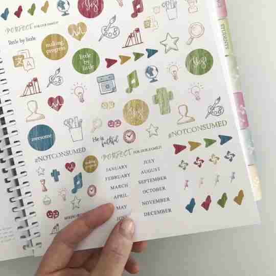 Organized Homeschool Planner sticker sheet