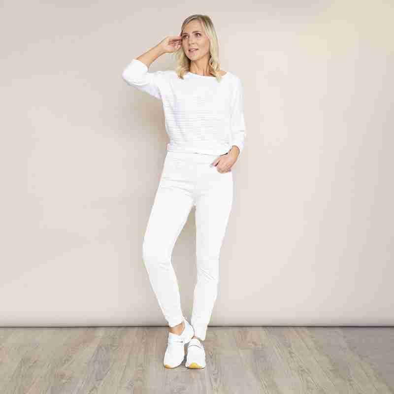 Ann Stretch Waist Trouser(White)