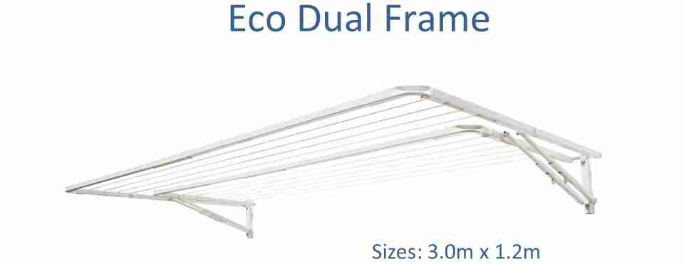 eco dual frame 2.8m wide front view and standard dimensions