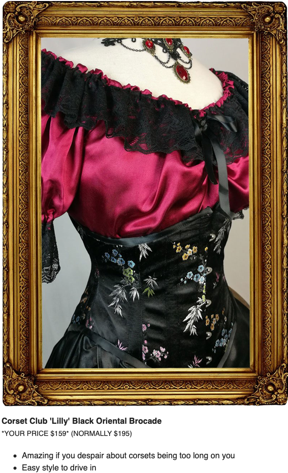 Lilly Black Oriental brocade was in the Corset Club Secret Sale, steel boned corset designed for driving in