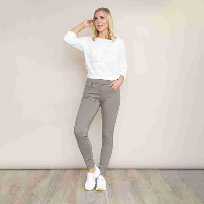 Ann's Stretch Waist Trousers(Khaki)