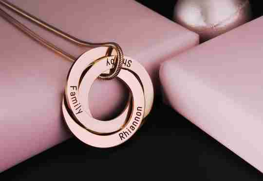 Interlinked Russian Rings Necklace