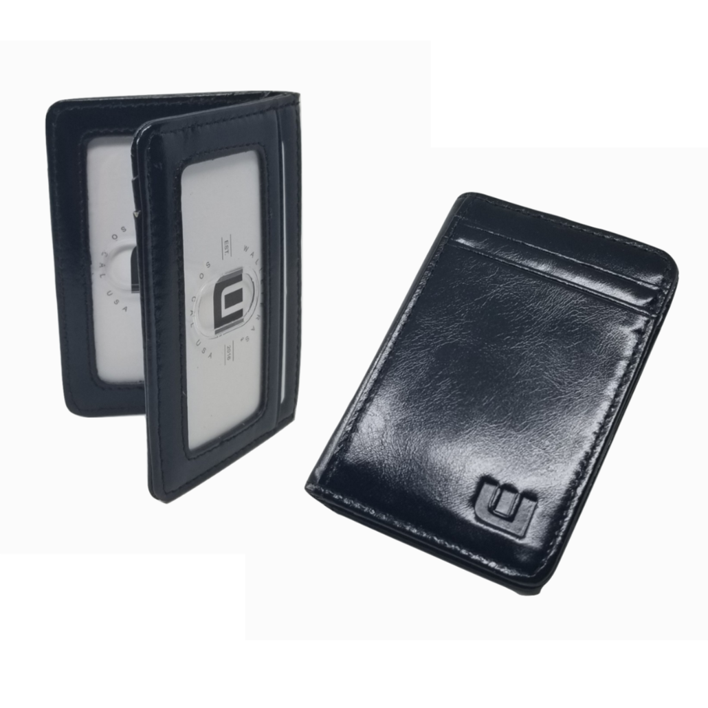 2-ID Front Pocket Wallet in Black Waxed Leather - S2