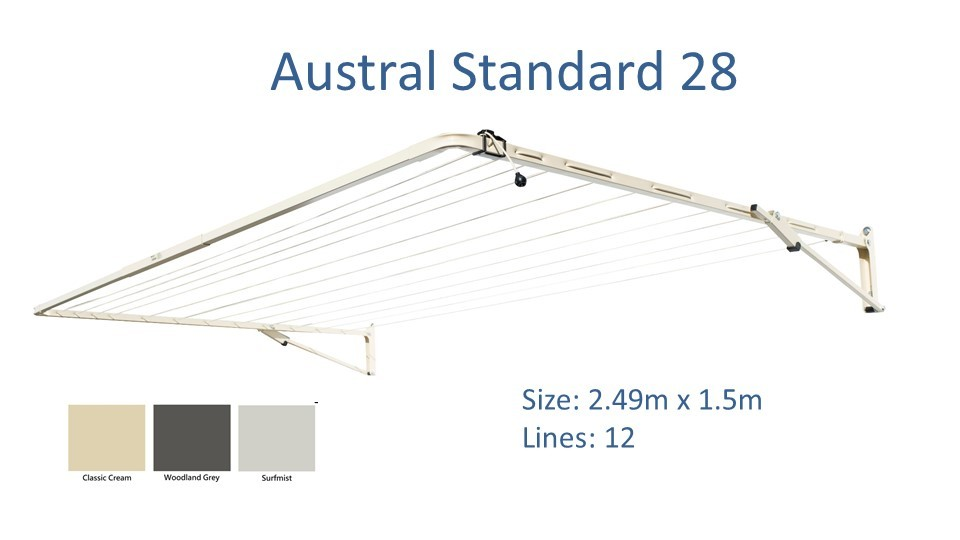 Austral standard 2.4m wide colour options and dimensions