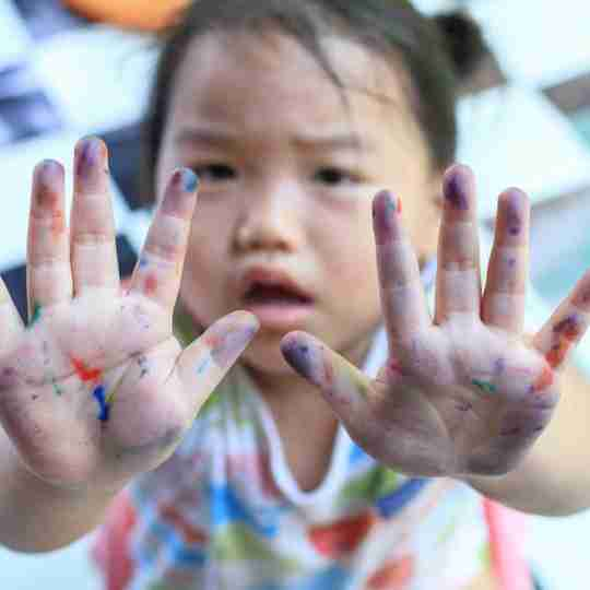 markers all over child