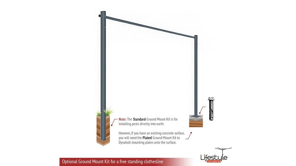 2.3m wide clothesline ground mount kit