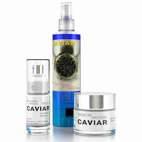 Pictured is are three products within the Caviar collection: the eye cream, the cleansing serum, and the regenerating cream.