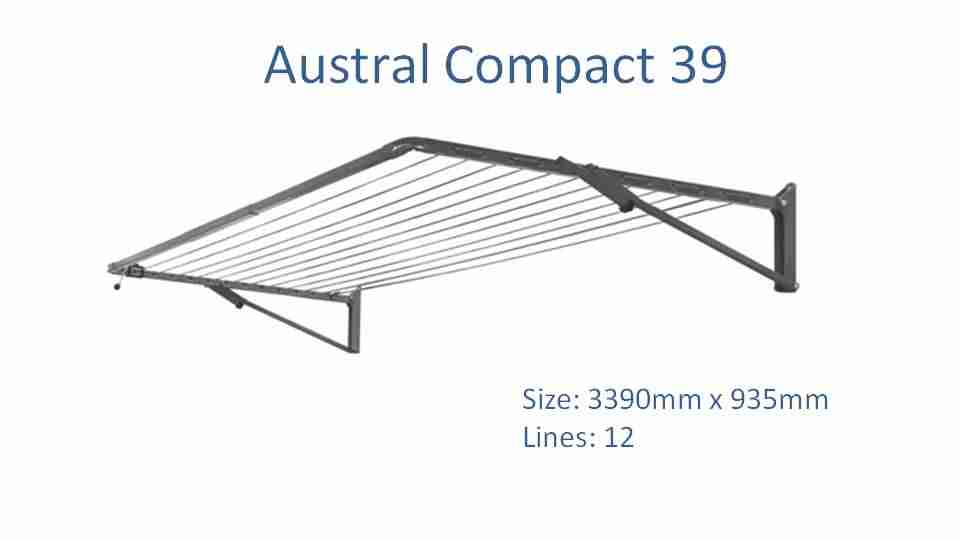 3400mm wide clothesline - austral compact 39