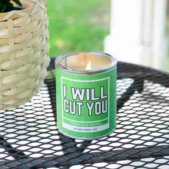 Novelty Rude candle | novelty gift | I Will Cut You | gifts for her | Fresh Cut Grass | Twisted Wares