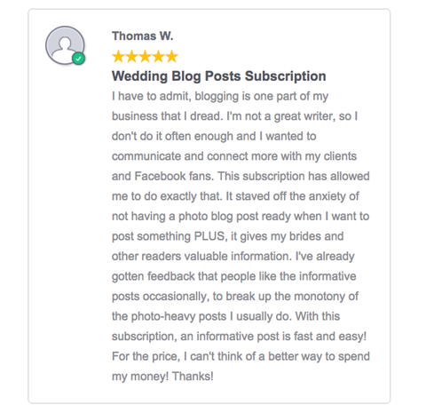 wedding photographer pre-written blog posts
