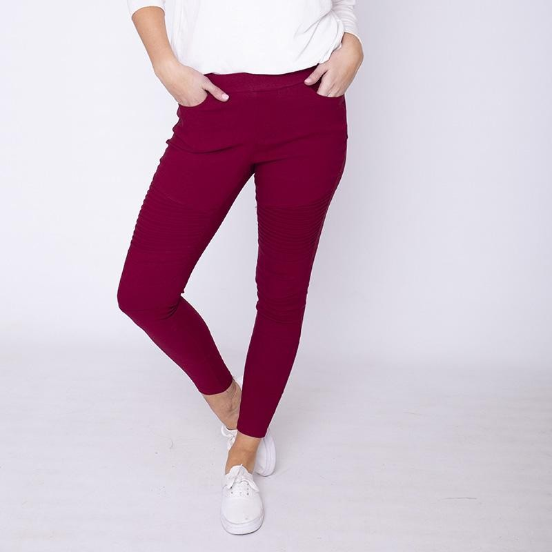 Moto Pleated Jeggings Burgundy