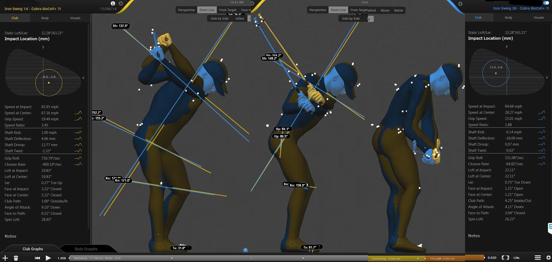 3 images of Rory McIlroy in 3d showing the blueprint of his swing mechanics at the various stages of the golf swing