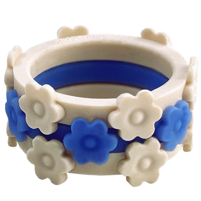 Pam's Promise Bundle white and blue flower rings