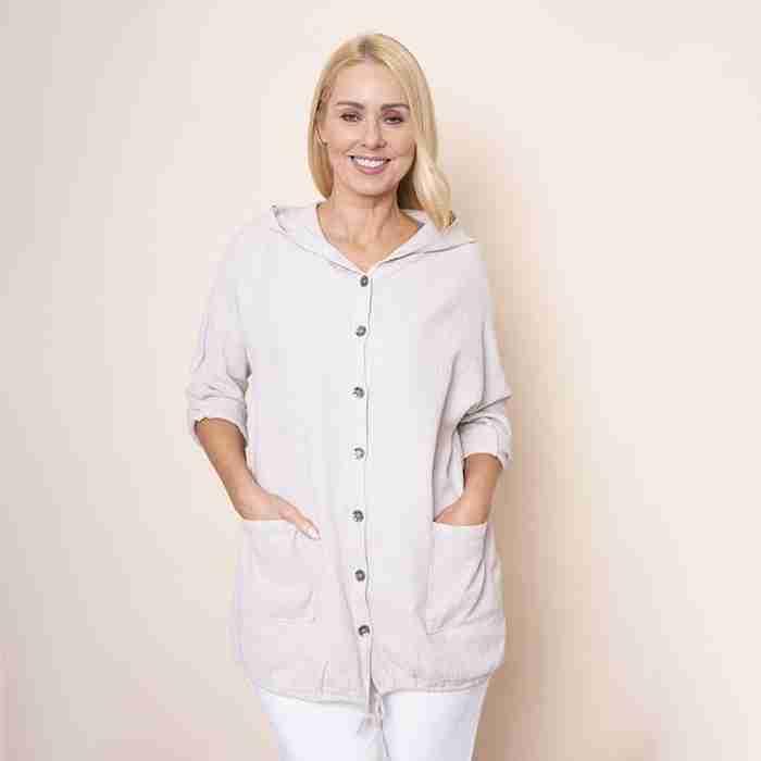 Crinkle Cotton Hoody Jacket(Beige)