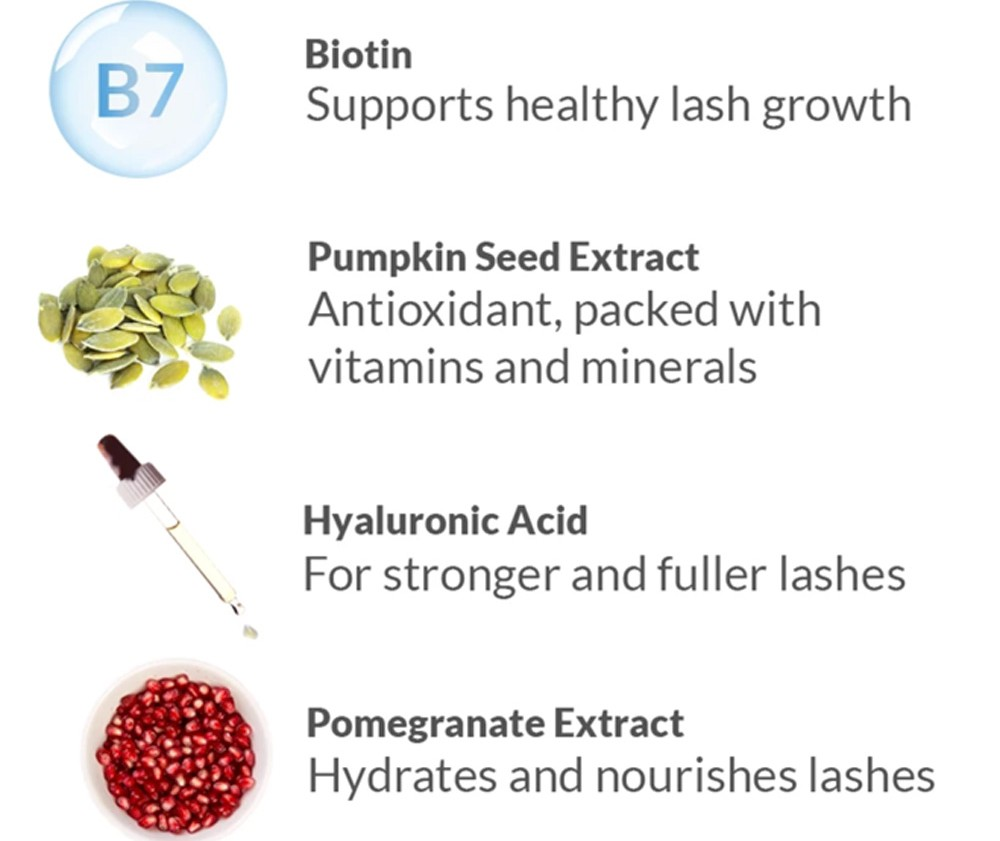 Biotin, supports healthy lash grow; Pumpkin Seed Extract, antioxidant, packed with vitamins and minerals; Hyaluronic Acid, for stronger and fuller lashes; Pomegranate Extract, hydrates and nourishes lashes