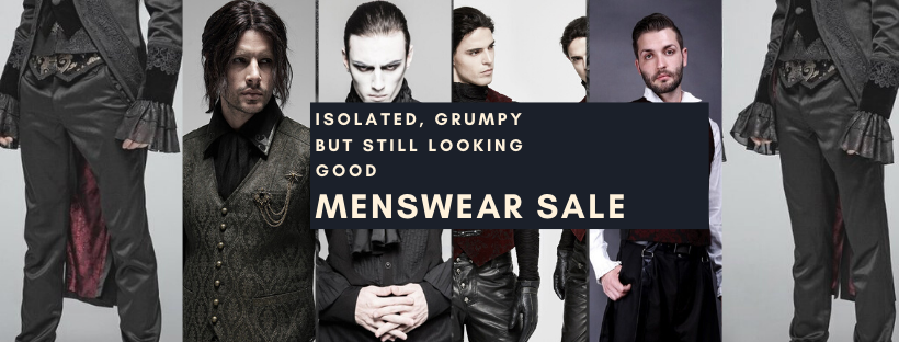 isolated grumpy but still looking good menswear sale; covid-19 sux
