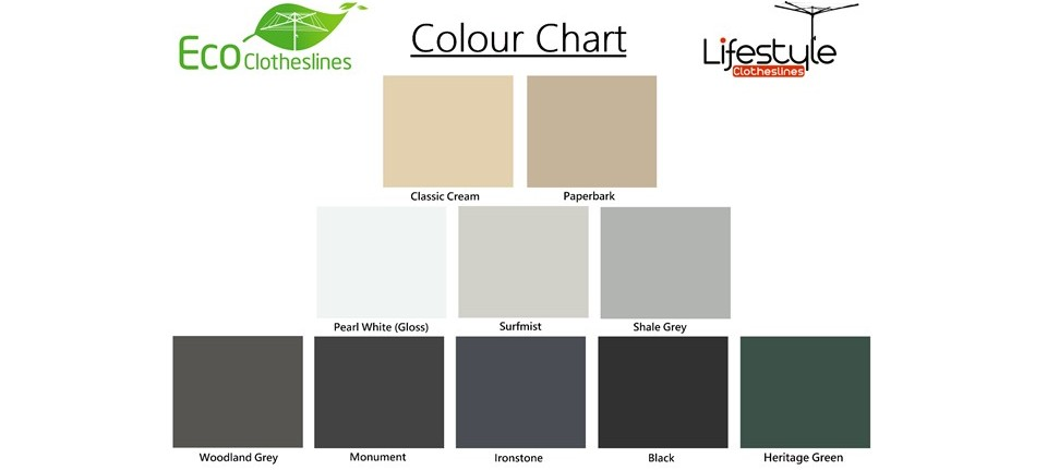 2.9m wide clothesline colour chart showing colorbond colours