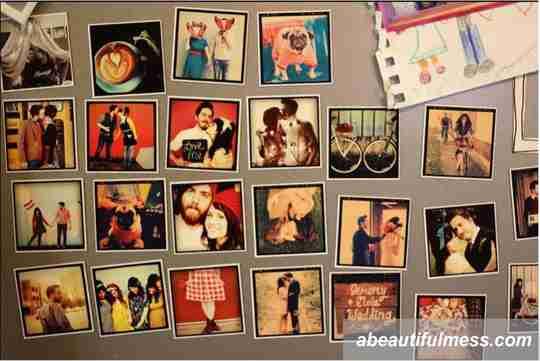 cara memajang foto, foto ditempel di kulkas