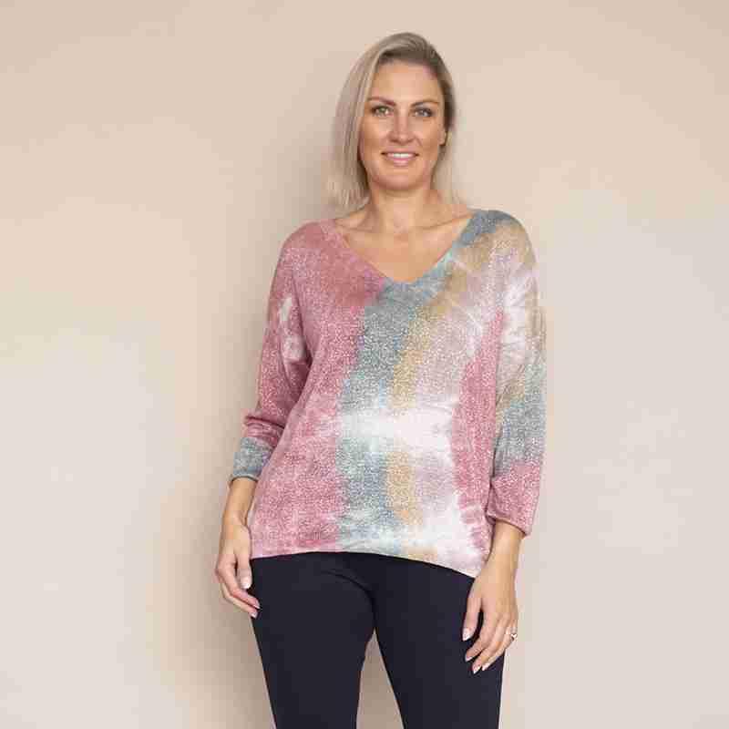 Val V Neck Tie Dye(Pink)