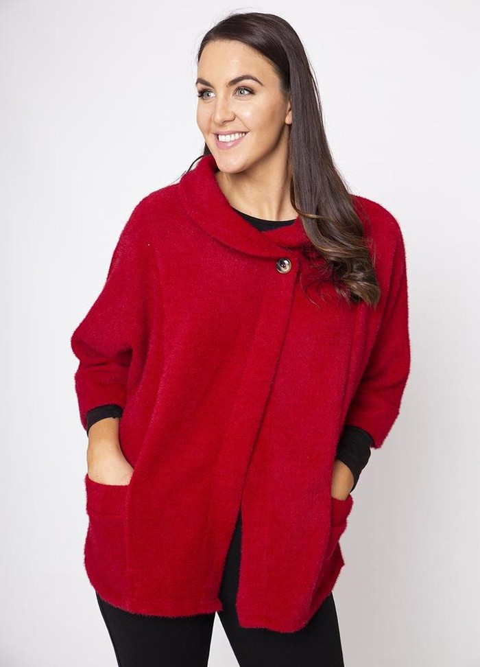 Round Neck 3/4 Sleeve Coat/Cardi in Red
