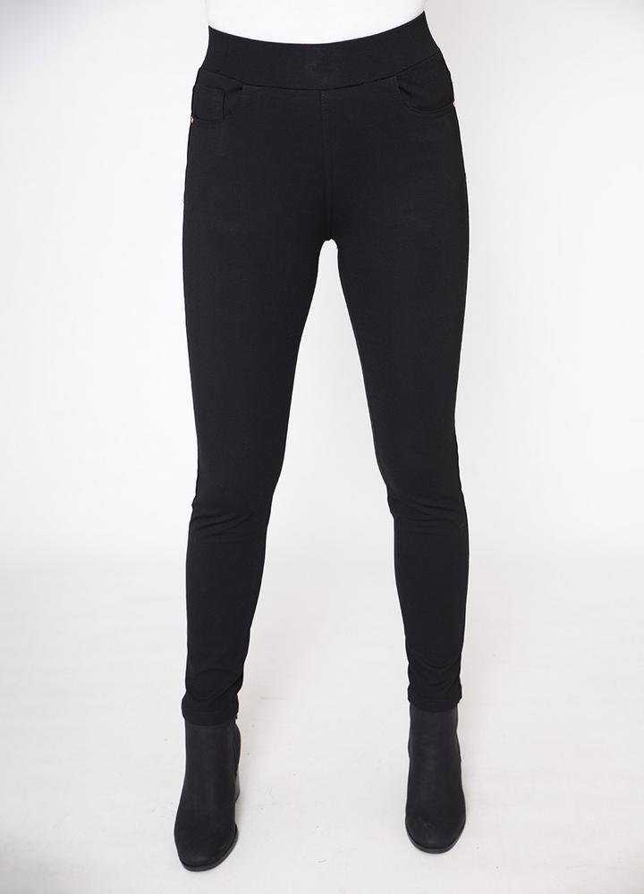 Stretch Waist Stud Pocket Trouser in Black