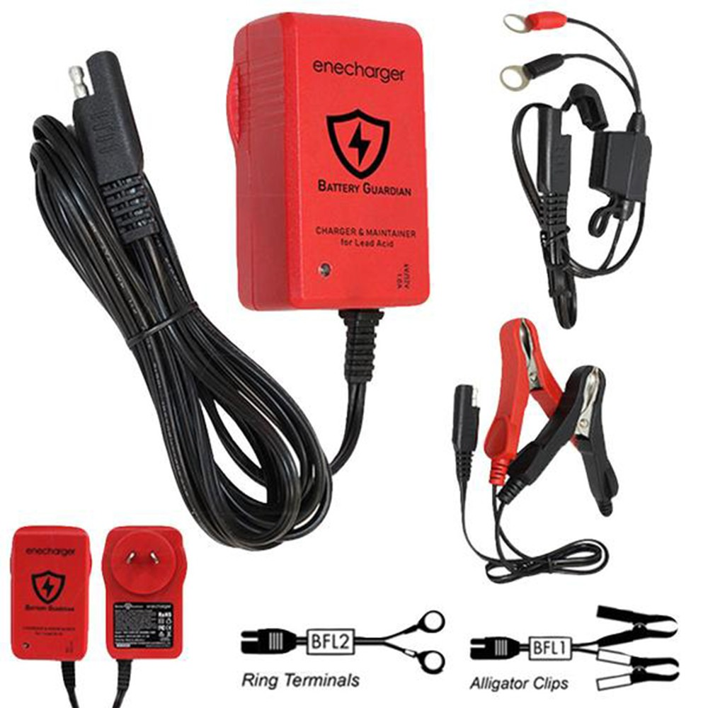 Enecharger ICS1 - 6V - 12V 1.0A 7 Step Automatic Lead Acid Charger w- Alligator Clips and Rings