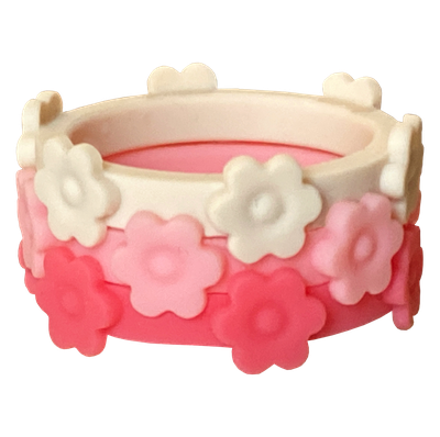 Hibiscus Bubblegum and Ivory Silicone Flower rings making up the daisy blossom ring bundle.