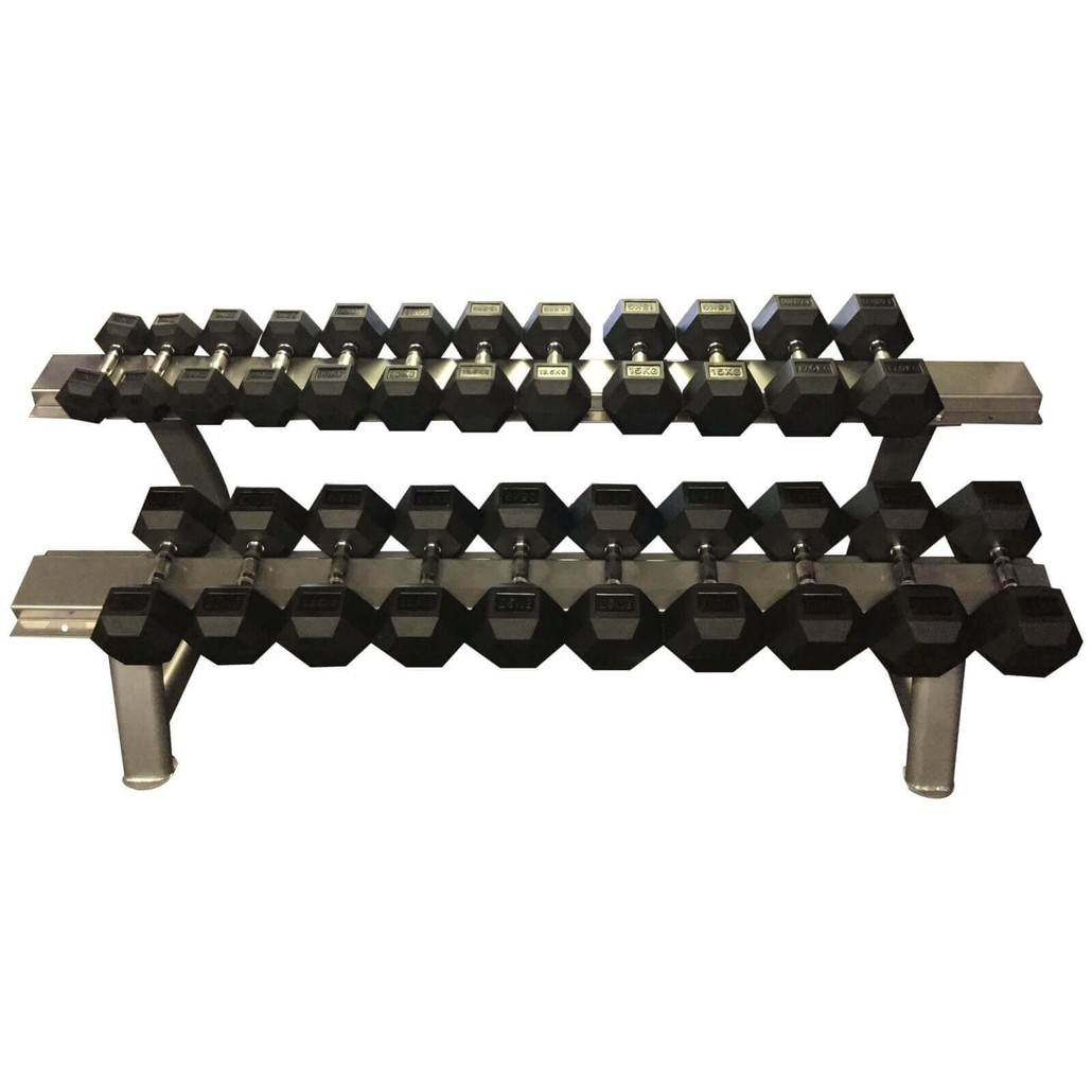 Strengthmax 5-30kg Rubber Commercial Dumbbells (With Rack)
