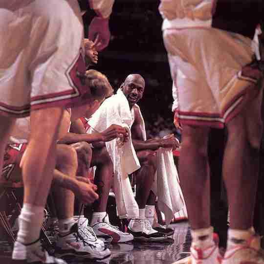 Michael Jordan wearing the Air Jordan 11 via @SneakerHistory
