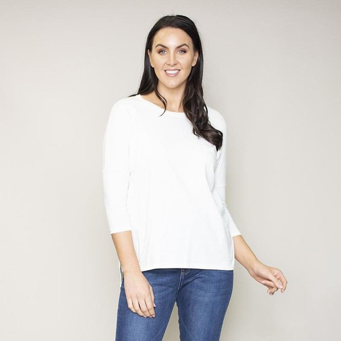 Perry Relaxed Fit Round Neck Top (Vanilla)