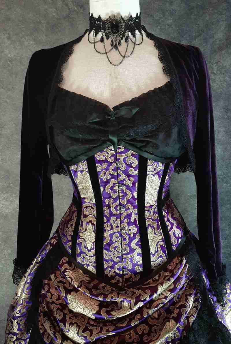 royal purple gold brocade under bust corset Gallery Serpentine unique design
