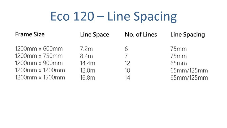 eco 120 120cm wide clothesline showing depth options and line spacing chart